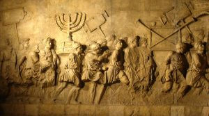 A scene from the Arch of Titus in Rome depicting the sacking of Jerusalem in 70 AD