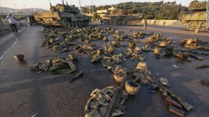 Helmet and vests lay on the Bosphorous Bridge on Saturday