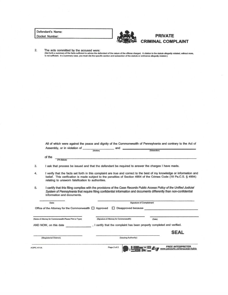 Criminal Report Submitted to PA Attorney General (Part 5A