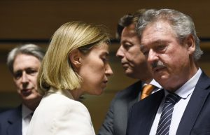 High Representative of the Union for Foreign Affairs and Security Policy Federica Mogherini, right, talks to Belgian Foreign minister Didier Reynders, left and British Foreign Secretary Philip Hammond during a monthly Foreign Affairs meeting in Luxembourg on June 20, 2016