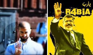 "Salahaden Raoof (left), spokesperson for the Green Youth in Malmö, Sweden, appeared on live TV giving the Rabia sign -- a four-fingered salute in support of the Muslim Brotherhood. He was allowed to retain his post after stating that he ""will not do it again."" Pictured at right: Mohamed Morsi, a Muslim Brotherhood leader and Egypt's deposed president"