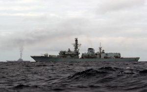 HMS Richmond escorting the Russian Task Group