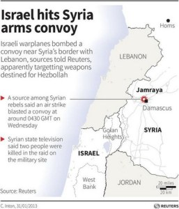 Map of Israel attack on Syria