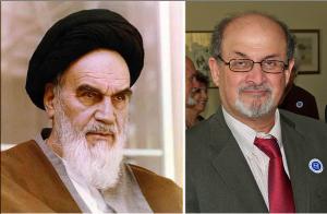 Iran's former Supreme Leader Ayatollah Khomeini and Salman Rushdie