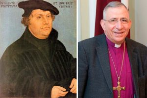 "A generation ago, in 1994, the leadership of the Lutheran Church in the US condemned the anti-Semitism of Church founder Martin Luther (left), and expressed its desire to ""love and respect"" the Jewish people. Today's president of the Lutheran World Federation, Bishop Munib Younan (right), is known for not upholding the renunciation of anti-Semitism and anti-Israelism"