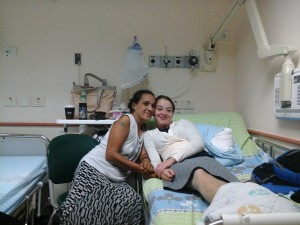 Melanie with Liam before the operation