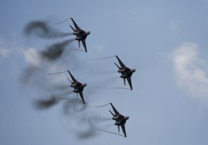 MiG-29 jet fighters of the Russian aerobatic team Strizhi (The Swifts) perform during the MAKS International Aviation and Space Salon in Zhukovsky outside Moscow, Russia, August 30, 2015