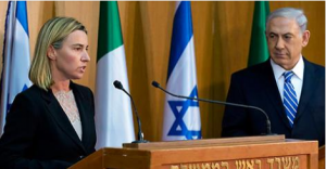 EU foreign policy chief Federica Mogherini and Benjamin Netanyahu