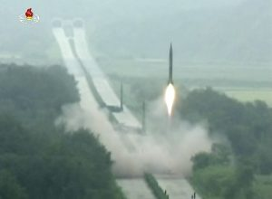 In this undated image made from video distributed Sept. 6, 2016, by North Korean broadcaster KRT, a missile is launched during a drill at an undisclosed location in North Korea