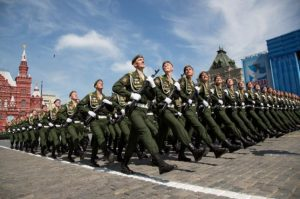 Russian servicemen march during the Victory Day parade at Red Square in Moscow, Russia, May 9, 2015