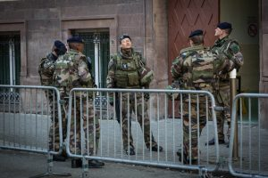 French soldiers guard a Jewish school in Strasbourg, February 2015.