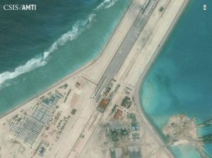 Center portion of the Subi Reef runway, shown in this Center for Strategic and International Studies (CSIS) Asia Maritime Transparency Initiative