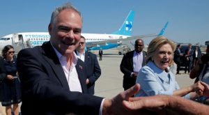 Vice-presidential candidate and U.S. Senator Tim Kaine and U.S. Democratic presidential nominee Hillary Clinton greet well-wishers in Cleveland