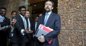 UN High Commissioner for Human Rights Zeid Raad al-Hussein speaks to media in Colombo, Sri Lanka, on Feb. 6, 2016