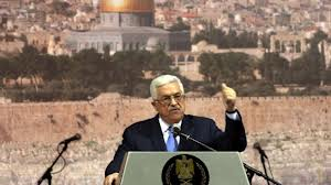 Abbas with Jerusalem in the background.