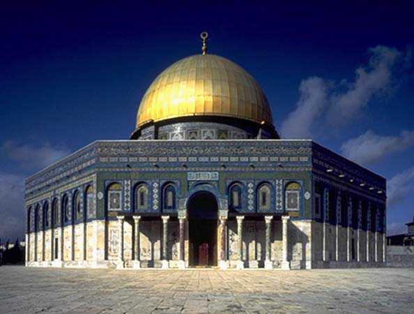 Dome of the Rock on Temple  Mount with Al-Aqsa mosque