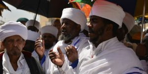 Religious leaders of the Ethiopian Jews during Passover prayers near Wailing Wall, Apr. 17, 2014