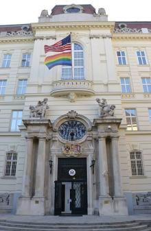 """Gay Flag"" flying over US Embassy in Vienna."
