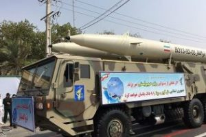 Zolfaqar missiles are displayed at one of several military parades in Iran on September 21, 2016. The slogan on the banner has been translated as 'If the leaders of the Zionist regime make a mistake then the Islamic Republic will turn Tel Aviv and Haifa to dust.'