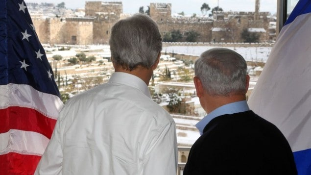 Kerry and Netanyahu can watch the storm while they were meeting to divide Israel!