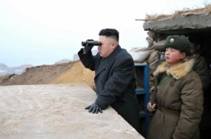 Kim Johg-Un looks into South Korea as war looms
