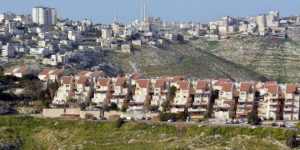 The Israeli city of Maale Adumim against the Arab village of Al-Eizariya. Ma'ale Adumim, which is located near Jerusalem, boasts a population of at least 40,000 residents