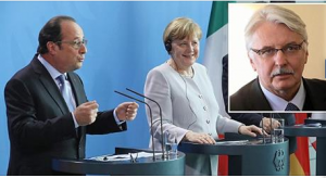 French, German and Italian Prime Ministers Hollande, Merkel and Renzi with Polish foreign minister Witold Waszczykowsk, inset