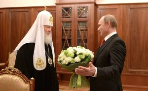 Russian President Vladimir Putin meets with Patriarch Kirill of the Russian Orthodox Church, May 24, 2015