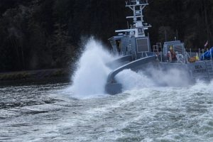 The Sea Hunter, which is designed to be used as an unmanned vessel, is shown here during testing