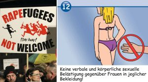 "Sexual violence in Germany has reached epidemic proportions since Chancellor Angela Merkel allowed into the country more than one million mostly male migrants from Africa, Asia and the Middle East. The government has been facing a rising voter backlash to the open-door migration policy, including public protests (left). In some areas, authorities have distributed cartoon guides, to ""educate"" migrants that sexual assault is not acceptable (right)"