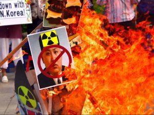 South Korean protestors burn Kin Jong Un signs