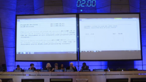 UNESCO's World Heritage Committee voting on a resolution ignoring Jewish and Christian ties to Jerusalem's Old City in Paris, October 26, 2016