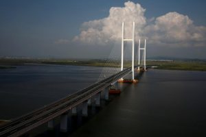 A general view shows the unfinished New Yalu River bridge that was designed to connect China's Dandong New Zone, Liaoning province, and North Korea's Sinuiju, September 11, 2016